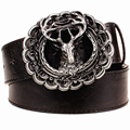 Nuevo cinturón de cuero hebilla de metal de moda cinturones de renos tendencia punk rock estilo Alce tendencia decorativa cinturón hombres mujeres regalo