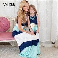 V-TREE Mùa Hè Mẹ Con Gái Dresses Gia Đình Phù Hợp Với Trang Phục Mẹ Và Con Gái Sọc Dài Dress Gia Đình Quần Áo