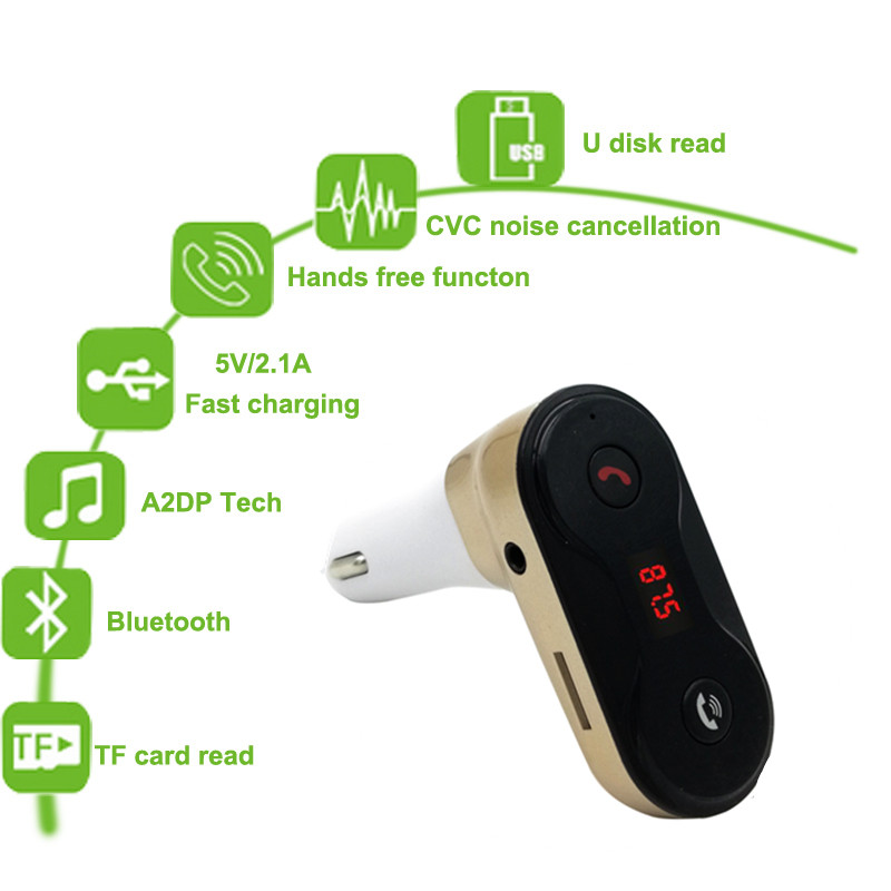 Wireless FM Transmitter Modulatore Bluetooth Car Kit G7 Caricabatterie aggiornamento a C8 AUX Hands Free Music Mini Lettore MP3 Auto Styling