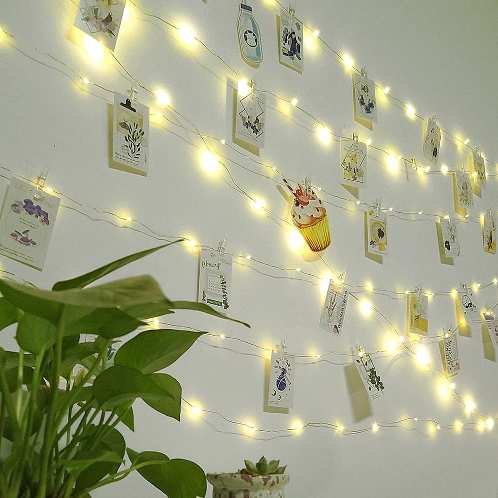 Light Chain Garland Clips Photo Lights Outdoor Indoor Guirlande Bedroom Living Room Decoration Party Christmas LED String Lights