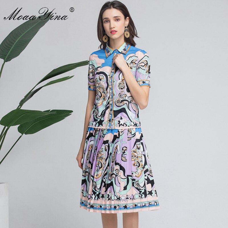 MoaaYina de diseñador de moda de las mujeres de verano de manga corta cordón impresión elegante Tops + falda de traje de dos piezas-in Conjuntos de mujer from Ropa de mujer    1