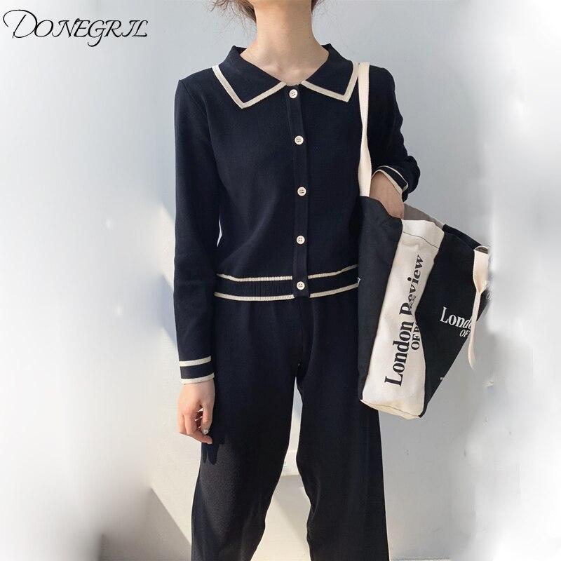 2019 printemps nouveau tricot large jambe pantalon ensemble femmes français élégant Cardigan haut deux pièces ensemble