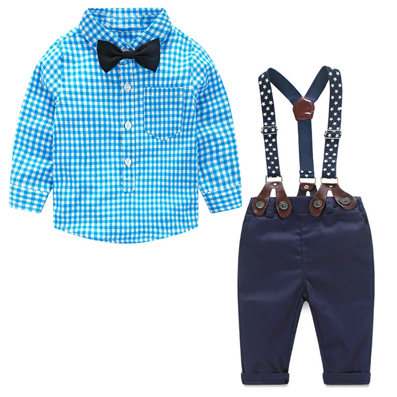Baby Boy Clothes 2017 Spring New Brand Gentleman Plaid Clothing Suit For Newborn Baby Bow Tie Shirt + Suspender Trousers new 2018 spring fashion baby boy clothes gentleman suit short sleeve stitching plaid vest and tie t shirt pants clothing set