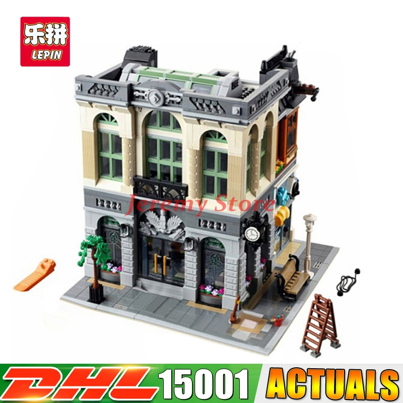 2017 New LEPIN 15001 2418pcs Brick Bank Model Building Kits Blocks Bricks Kits Funny Toy Compatible With 10251 for children gift compatible legoed lepin 15001 city street bank model building kits blocks bricks kits education toys for children gifts 10251