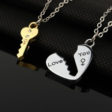 key lock Sliver Plated Key Pendant Necklaces For Womens Lover Couple