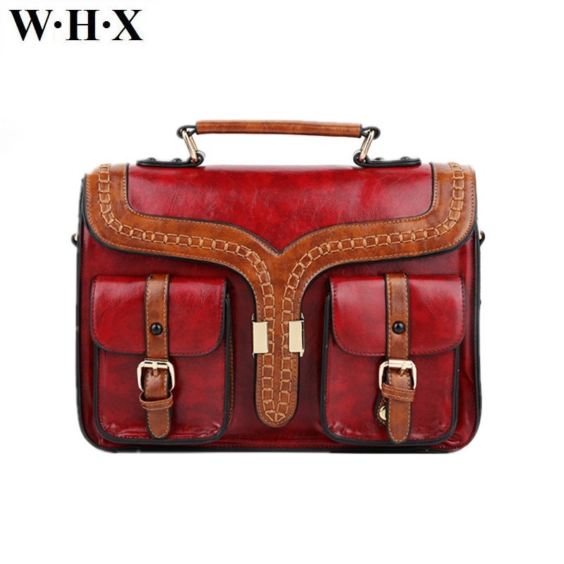 WHX Women Tote Bag Women Messenger Bags Retro Red Latest Design Fashion Casual Female Crossbody Shoulder Bag Pu Leather Handbag aosbos fashion portable insulated canvas lunch bag thermal food picnic lunch bags for women kids men cooler lunch box bag tote