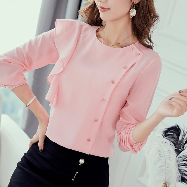 Autumn 2018 Women White Shirt Long Sleeve Shirt Korean Button Women Clothes Streetwear Slim Chiffon Blouse Elegant Women Tops