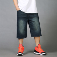 Summer Mens Baggy Jeans Shorts Big Size 46 Loose Pants Boy's Hip Hop Straight Denim Shorts Jeans Calf Length Trousers Black Blue