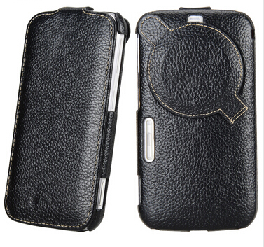 imágenes para Alta calidad del cuero genuino cubierta para Samsung Galaxy K Zoom C1116 C1158 Vertical cubierta protectora con protector de pantalla