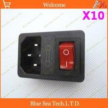 משלוח חינם 10 יחידות שקע מתג עם אור אדום, מתח AC שקע תקע 4Pin 10A 250 V עם נתיך בלוק + 10A נתיך