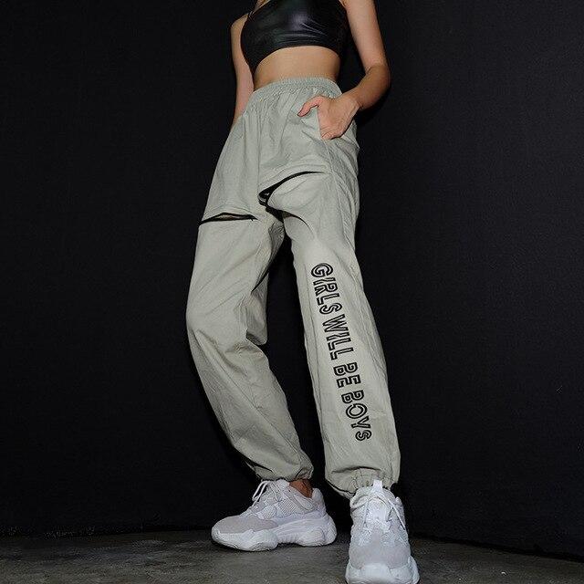 Casual Sweatpants And Joggers Women Streetwear Autumn Winter Zipper Open Trousers Cotton High Waist Harajuku Pants