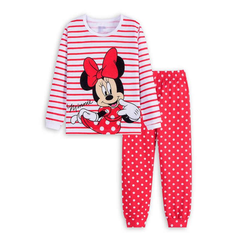 Детская одежда на осень с длинным рукавом Брюки Пижама Минни комплекты Пижама для мальчиков с принтом «Микки», плавательные трусы Мышь одежда для сна для маленьких девочек, пижама в стиле принцессы
