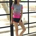 2016 Mujeres Camisetas de Manga Corta Camisetas de Fitness Mujeres de Secado Rápido Camisa de Compresión Medias S4