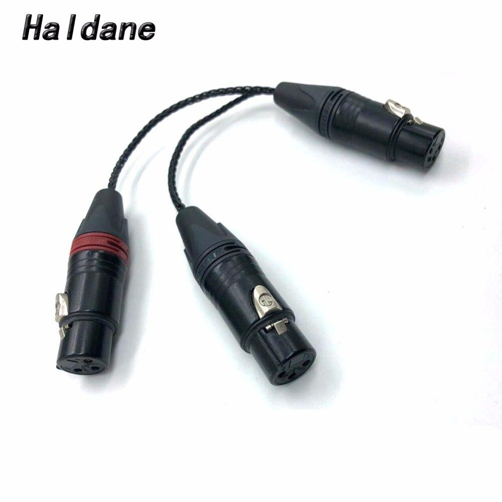 Livraison gratuite 4pin XLR femelle à 2x 3pin XLR femelle câble Hifi XLR câble Audio rallonge câbles fil ligne