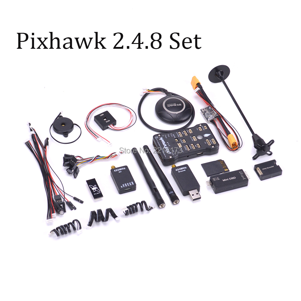 Pixhawk PX4 PIX 2.4.8 32 Bit Flight Controller 433 / 915 100mw Telemetry M8N GPS Minim OSD PM Safety Switch Buzzer RGB PPM I2C micro px4 2 4 6 flight controller m8n gps ppm encode osd 433mhz radio telemetry 100mw combo