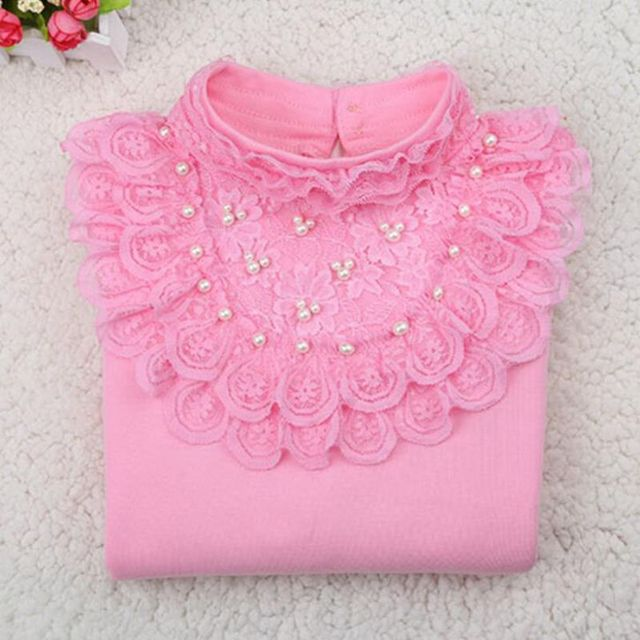 2017 Spring Fall Winter Pearls Lace Bow Long Sleeve School Girl Blouse Shirt For Kids Baby Shirts Girls Tops And Blouses JW3118A