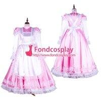 Запираемый Сисси горничной атлас розовое платье форма карнавальный костюм Сделанные на заказ [G1749]