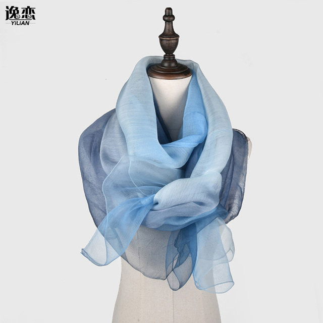 YI LIAN Brand New Arrival Fashion Women Silk Scarf High Quality Elegant Lady Solid Long and Thin Scarves 9 Color SL005