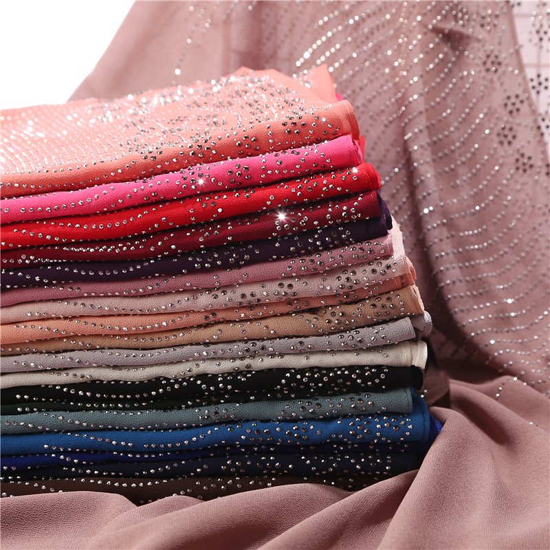 New Arrive Women Bubbles Chiffon Scarf With Diamond Studs Pearls Scarf Plain Hijab Shawls Wraps Solid Color Muslim Hijab