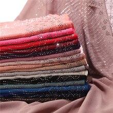 Nieuwe Aankomen Vrouwen Bellen Chiffon Sjaal Met Diamant Studs Parels Sjaal Vlakte Hijab Sjaals Wraps Effen Kleur Moslim Hijab
