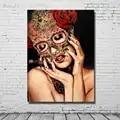Nouveau Design 100% peint à la main abstraite femmes peinture à l'huile sur toile pour la décoration de la maison mur photos pas encadré 1 Peices