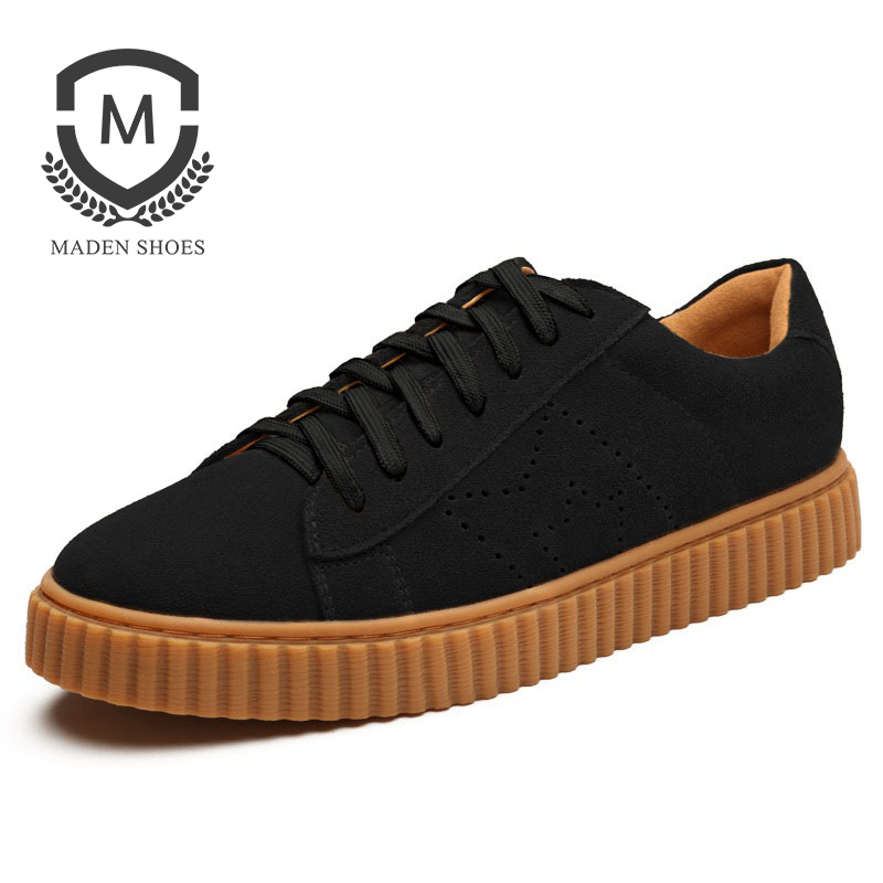 Maden Brand 2018 Mens Casual Shoes Handmade high quality Suede Fashion Male Shoes Quality Genuine Flats shoes Boy Shoes
