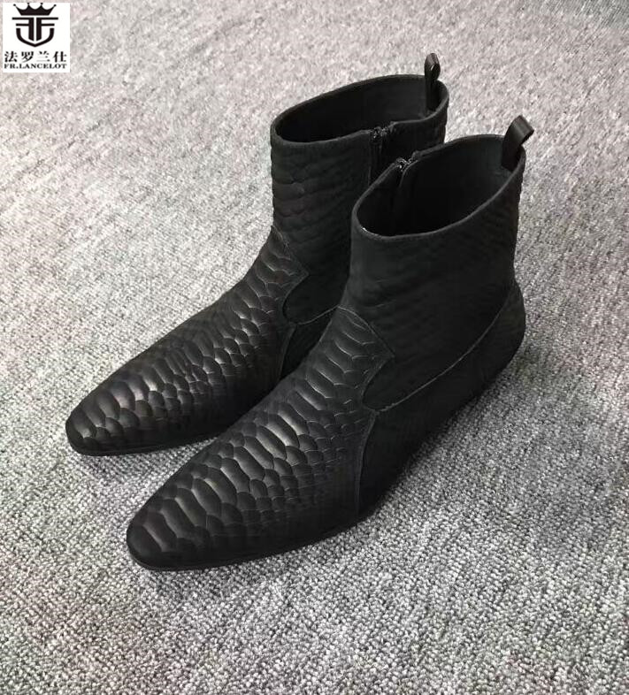 2019 FR LANCELOT luxury brand shoes men designer ankle boots genuine leather brand men winter boots