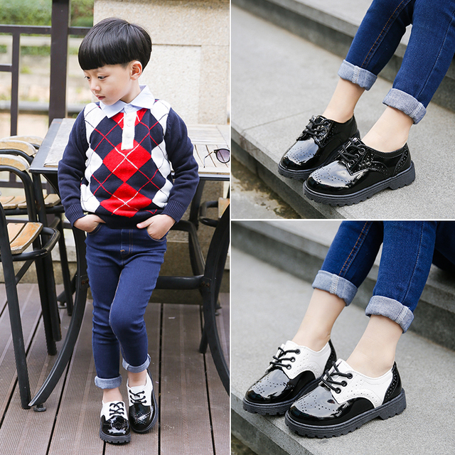 2016 new children patent leather sneakers baby boys platform sneakers for kids brand shoes girls fashion walking single shoes