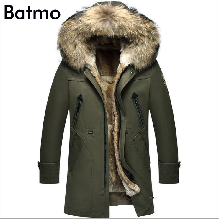 Batmo 2018 nouvelle arrivée d'hiver de haute qualité chaud lapin fourrure doublure capuche vert veste hommes, fourrure de raton laveur collier hiver chaud manteau hommes
