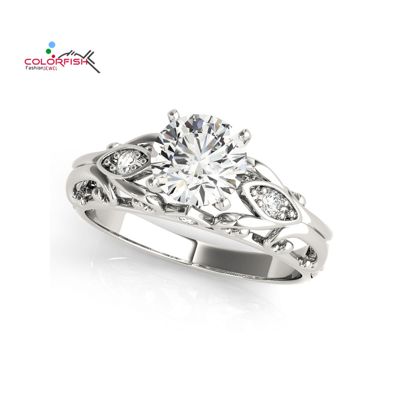 COLORFISH 925 Sterling Silver 1 Carat Round Cut Solitaire Ring For Women Sona Vintage Engraved Wedding Rings 2018 Ringen Party a suit of vintage engraved rivet rings
