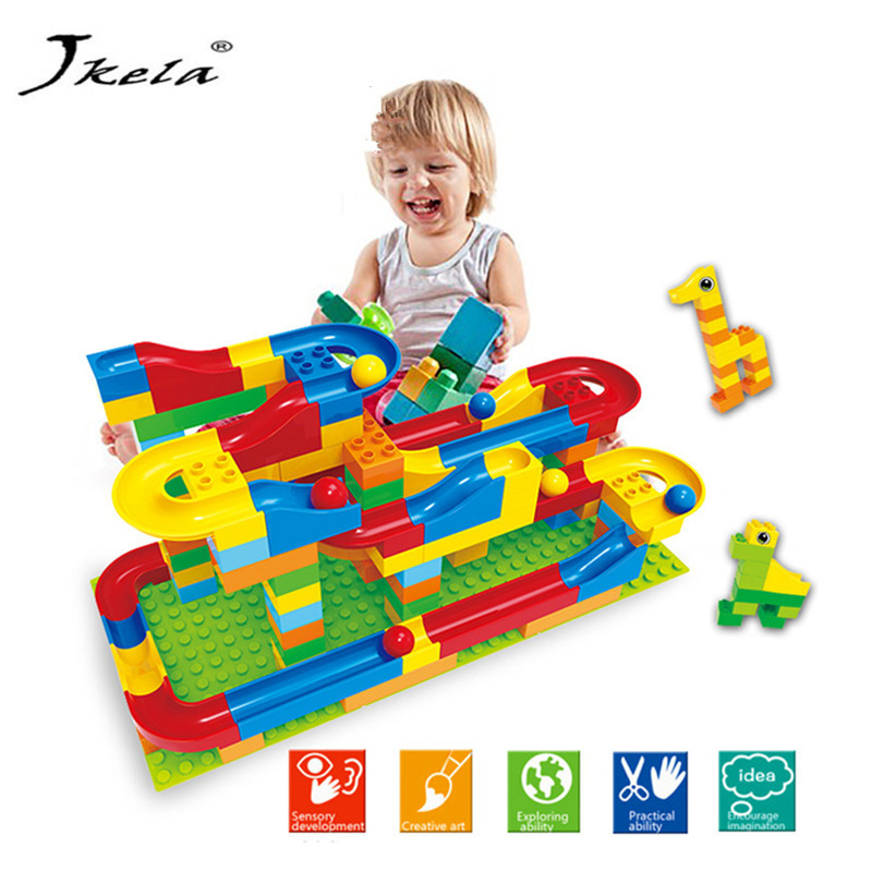 Bricks Trajectory Run Rolling Ball Rail Building Blocks Track Building Blocks For Kids Compatible Legoed Duplo