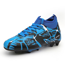 Men Football Boots Soccer Cleats Boots Long Spikes TF Spikes Ankle High Top Sneakers Soft Indoor Turf Futsal Child soccer Shoes цена в Москве и Питере