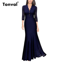 Tonval Buttons Vintage Lace Maxi Dress Elegant Women Evening Party Formal Dresses Sexy V Neck Long