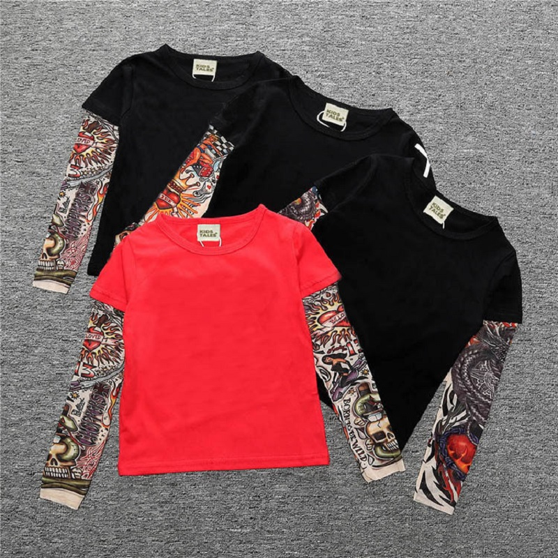 Fake Tattoo Sleeve Hip-Pop Boys T-Shirts Long Sleeve 100% Cotton Fashion Baby Boy Clothes Children Jersey 1 2 3 4 5 6 7 Year Top 1