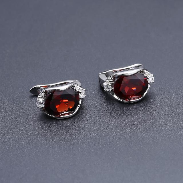 GEM'S BALLET 925 Sterling Silver Gemstone Stud Earrings 6.10Ct Natural Red Garnet Earrings For Women Wedding Fine Jewelry