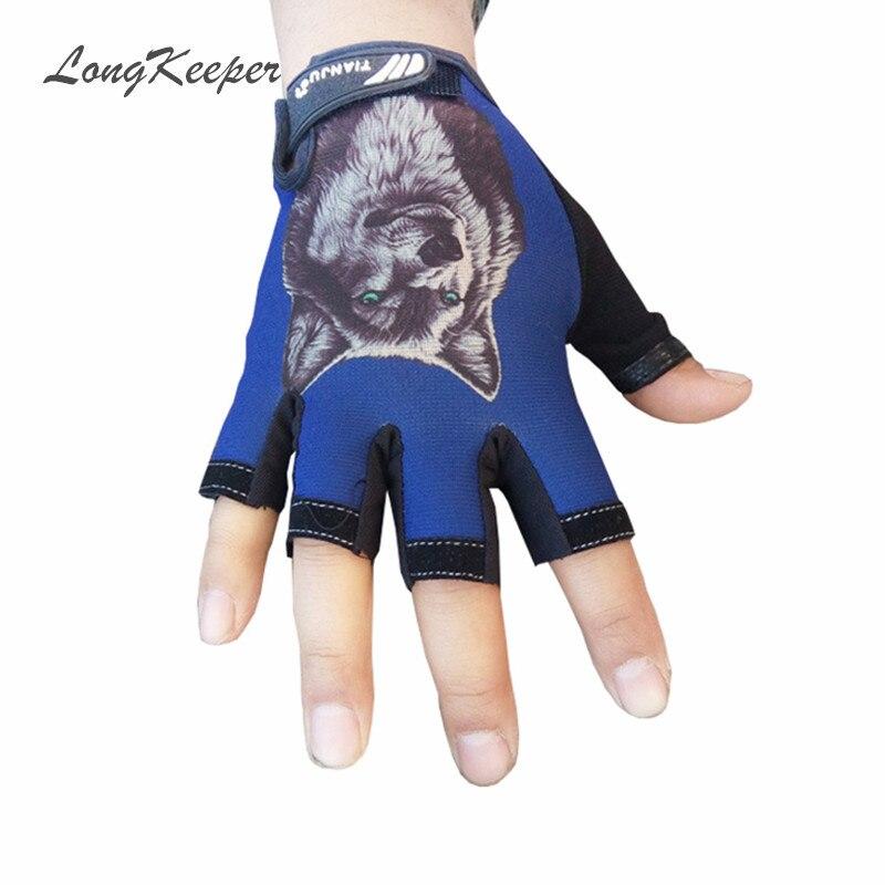 LongKeeper New Women Men Fingerless Gloves Half Finger Mittens Wolf & Skull Pattern Work Out Guantes Eldiven
