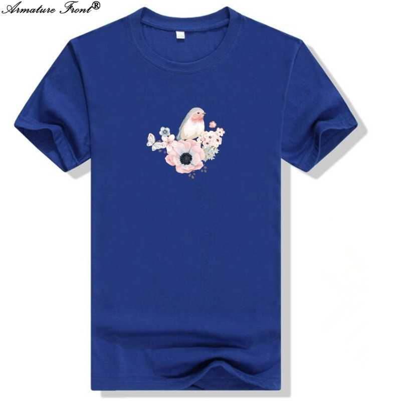 1901d044dd3 Kawai Animal Bird Flowers Print Men Tees Short Sleeve Sports 2019 Summer  Women T-shirt