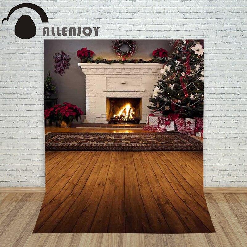 Christmas tree backdrop photography Allenjoy Wooden Carpet Fireplace xmas Tree background photographic studio vinyl camera background photography vinyl backdrop light blur pattern christmas for a photo shoot photographic camera