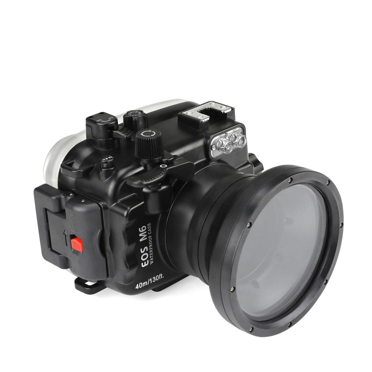 Boîtier étanche pour appareil photo sous-marin de 40 m/130ft pour objectif Canon EOS M6 (18-55 MM)