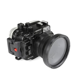 SeaFrogs 40m/130ft Underwater Camera Waterproof Housing Case For Canon EOS M6 (18-55MM) Lens