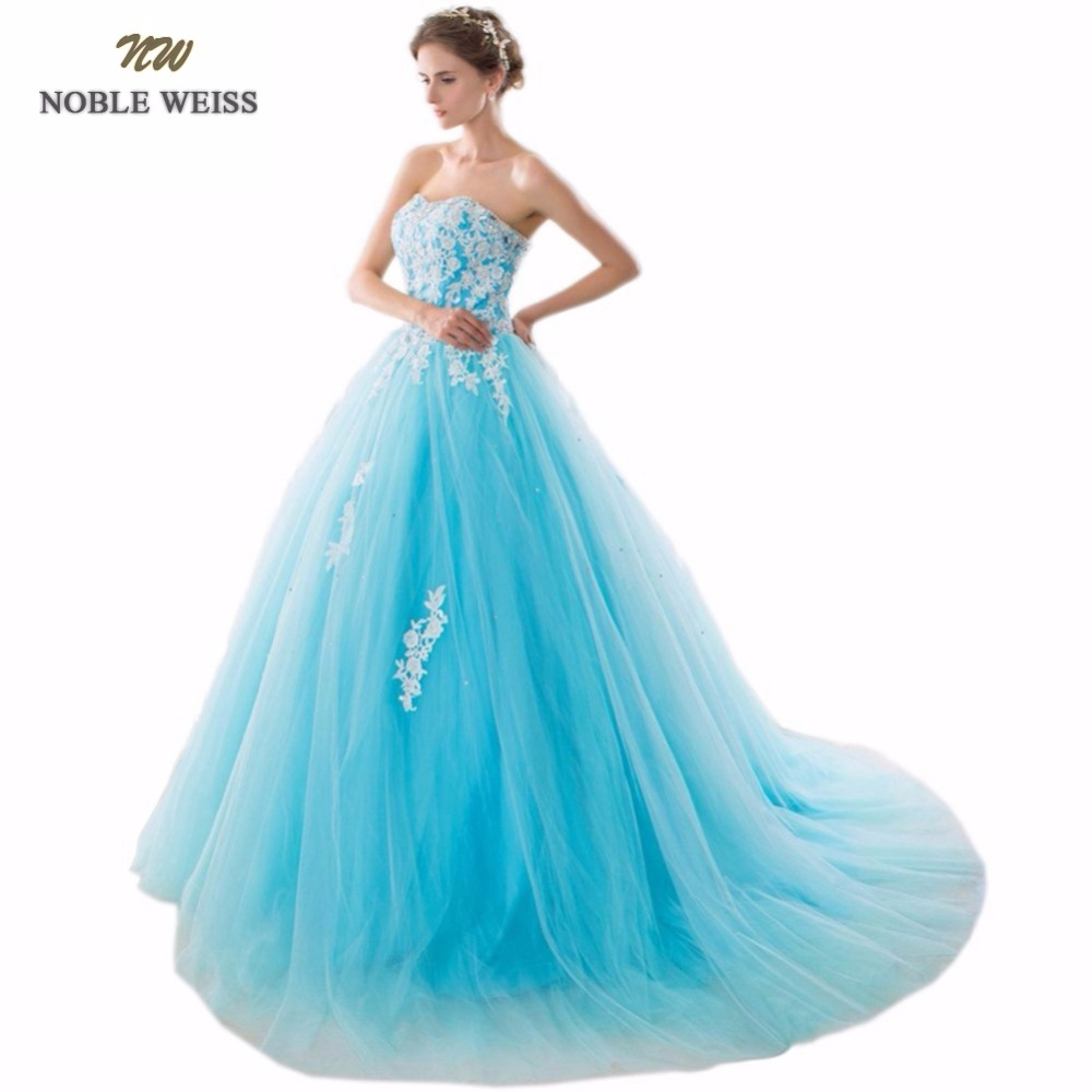 NOBLE WEISS Special Occasion Dresses Ball Gown Appliques Beading Court Train Evening Dresses 2019 New Arrival