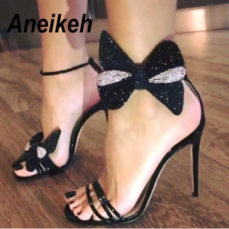 2d6c8bf60 Aneikeh 2019 Summer Rhinestone Bow Women Fashion Black Leather High Heels  Ankle Buckles Ladies Concise Style