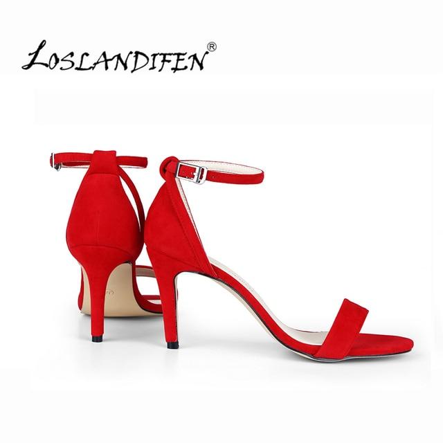3e3efdfd2 LOSLANDIFEN Fashion Women's Sandals Ankle Strap Summer Office Pumps Classic  Office Black Velvet Thin High Heel Shoes107-6VE