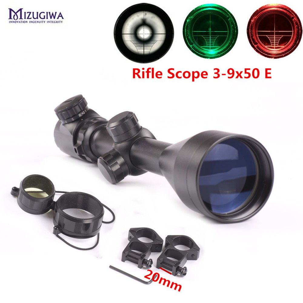 Hunting 3-9x50 EG Riflescope Red Green Illuminated Air Rifle Optics Sight Sniper Gun Scope Riflescope With 20mm Mount Rail Caza zos 3 9x42 tactical optical scopes red and green laser riflescope hunting rifle scope with 20mm mounts for air soft gun caza