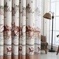 Tranditional estilo Chinês cortinas de pano sombra cavalos impressão cortinas para quarto e sala de estar