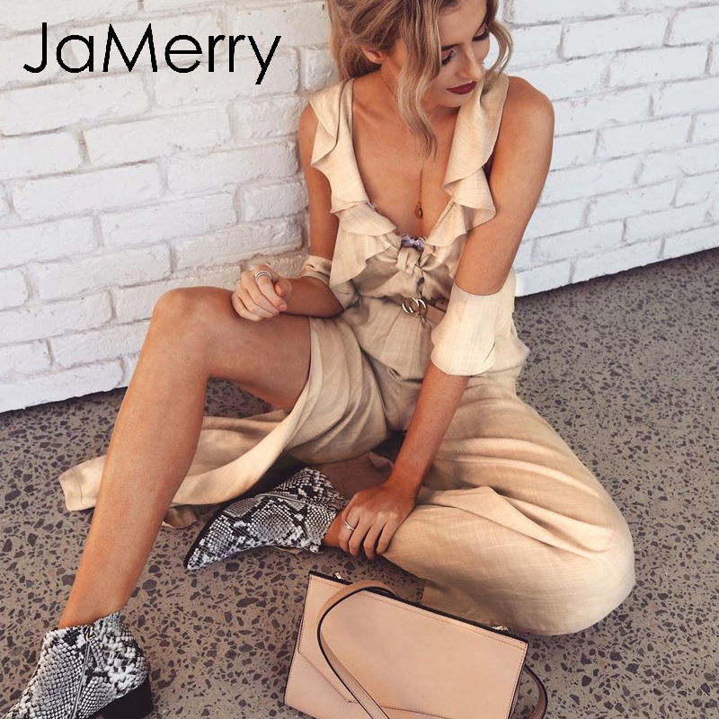 JaMerry 2019 Sexy cold shoulder solid summer   jumpsuit   women Ruffle split long overalls Elegant boho holiday female spring romper