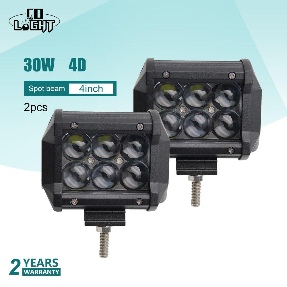 CO LIGHT 30W Additional Lights 4 Inch Work Light Off Road Spot 4D Fog Lights Led