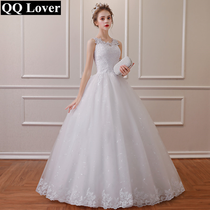 QQ Lover 2019 New Lace Simple Wedding Dress Plus Size