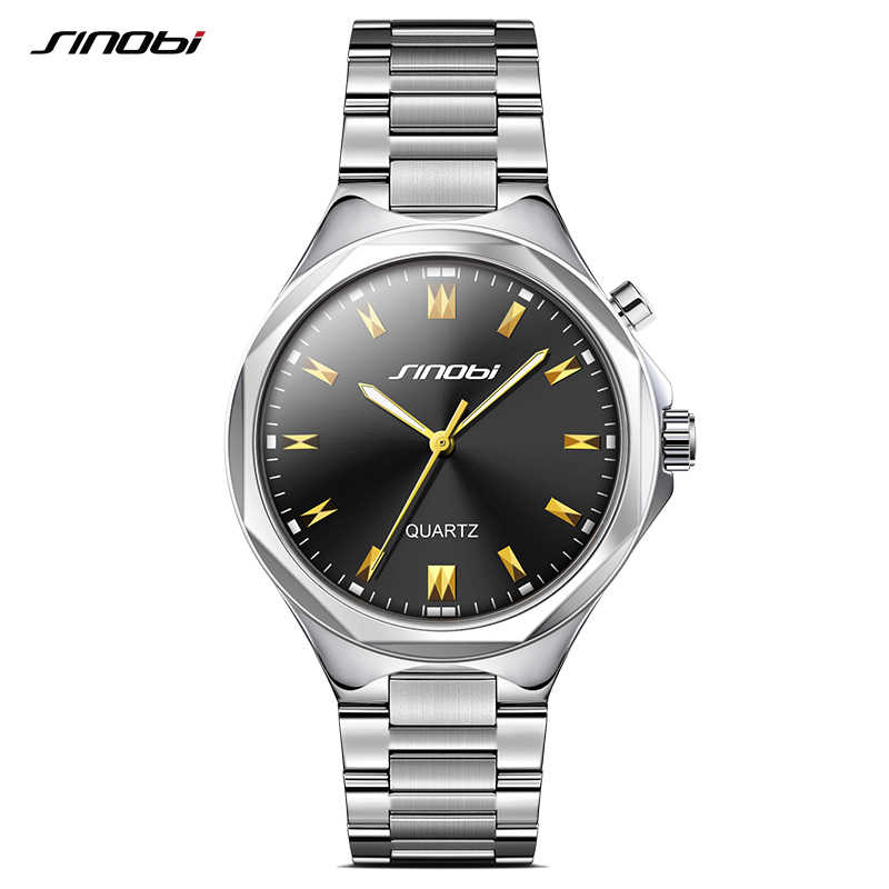 cf7f5263d40 SINOBI Men Wrist Watches Back Light Steel Watchband Top Brand Luxury Male  Geneva Quartz Clock Hours