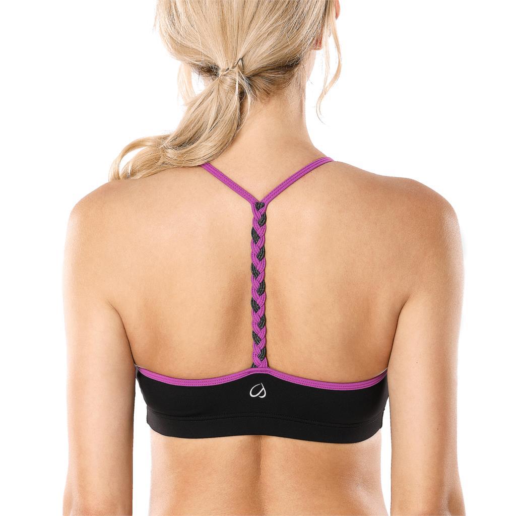 Women's Light Support Braided T-Back Yoga Sports Bra